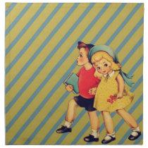 back to school retro stripes Kitsch Vintage Kids Napkin