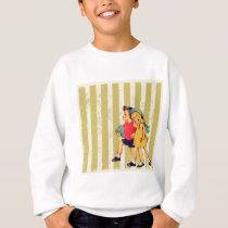 back to school retro stripes Kitsch Vintage Kids Sweatshirt