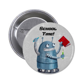 Back to School Robot Pinback Button