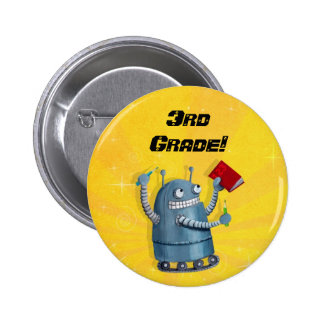 Back to School Robot Pinback Buttons
