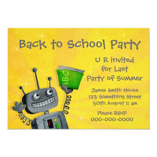 Back to School Robot Party Invitation