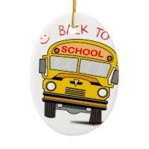 Back to school - school bus ceramic ornament
