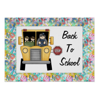 Back to School School Bus Custom Print Poster