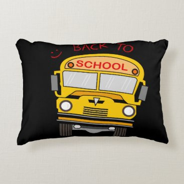 Beach Themed Back to school - school bus decorative pillow