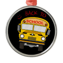 Back to school - school bus metal ornament