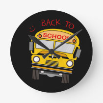Back to school - school bus round clock