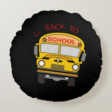 Beach Themed Back to school - school bus round pillow