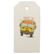 Back to school - school bus wooden gift tags