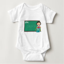 Back to school sign with girl and bag baby bodysuit