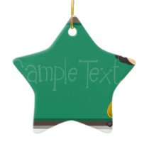 Back to school sign with girl and bag ceramic ornament