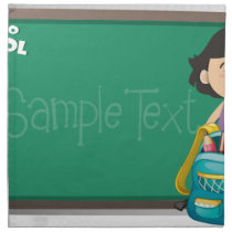 Back to school sign with girl and bag cloth napkin