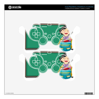 Back to school sign with girl and bag decal for PS3 controller