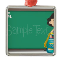 Back to school sign with girl and bag metal ornament