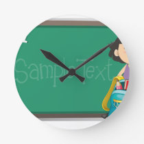 Back to school sign with girl and bag round clock