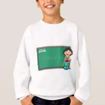 Back to school sign with girl and bag sweatshirt