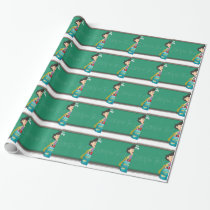 Back to school sign with girl and bag wrapping paper