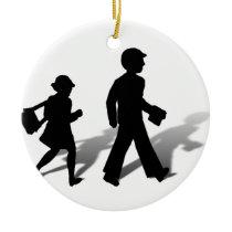 Back To School - Silhouette Kids Walking Ceramic Ornament