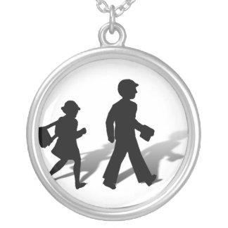Back To School - Silhouette Kids Walking Pendant
