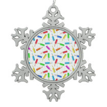 Back To School Snowflake Pewter Christmas Ornament