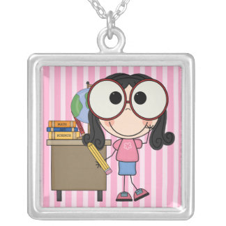 Back To School Square Pendant Necklace