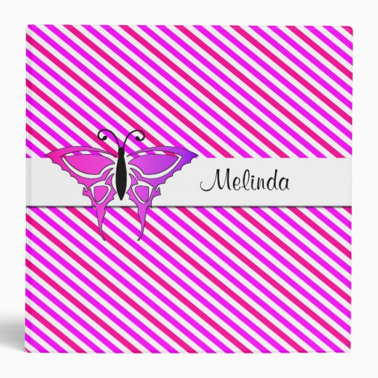 Back to School Striped with Butterfly Binder