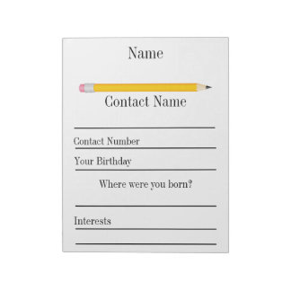 Back to School Student Information Note Pad
