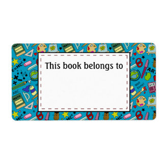 Back To School Supplies Doodle Art Label