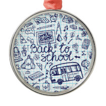 Back to School Supplies. Sketchy Notebook decor Metal Ornament