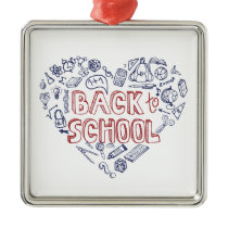 Back to School Supplies Sketchy  Notebook Metal Ornament