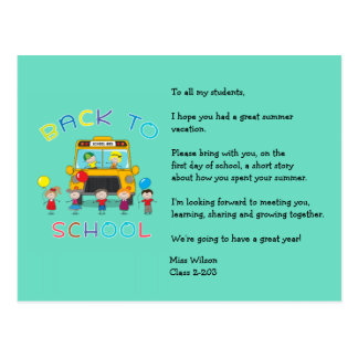 Back to School Teacher's Ice Breaker Postcard