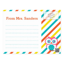 Back to School Teacher's Postcard - Owl Theme