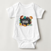 Back to school theme with boy and girls baby bodysuit