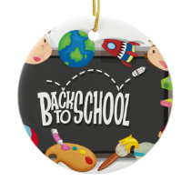 Back to school theme with boy and girls ceramic ornament