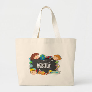 Back to school theme with boy and girls large tote bag
