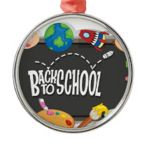 Back to school theme with boy and girls metal ornament