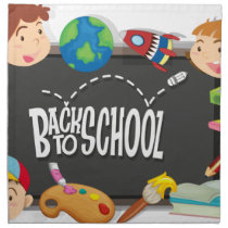 Back to school theme with boy and girls napkin