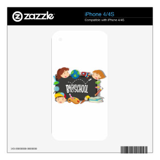 Back to school theme with boy and girls skin for iPhone 4S