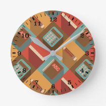 Back To School Tools (Hipster Style) Round Clock