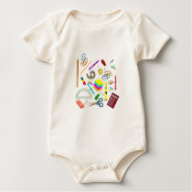 Back to School Unicorn Baby Bodysuit