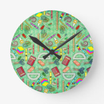 Back to School Unicorn Round Clock