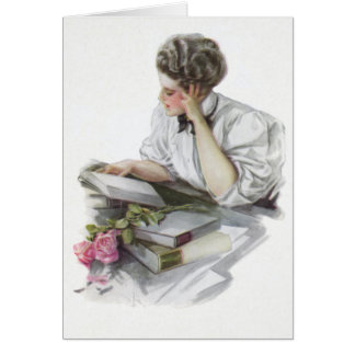 Back to School Vintage College Girl Card