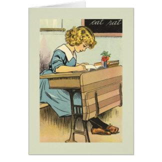 Back to School Vintage Schoolgirl Card