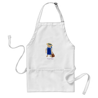 Back to School Water Colored Girl with Bookbag Adult Apron