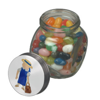 Back to School Water Colored Girl with Bookbag Jelly Belly Candy Jar