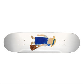 Back to School Water Colored Girl with Bookbag Skateboard