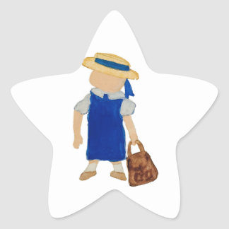 Back to School Water Colored Girl with Bookbag Star Sticker