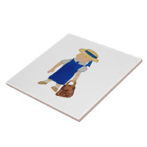 Back to School Water Colored Girl with Bookbag Tile