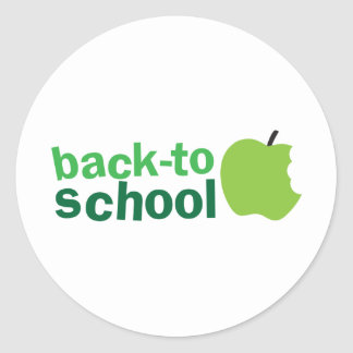back to school with green apple classic round sticker