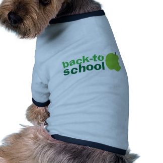 back to school with green apple dog t-shirt