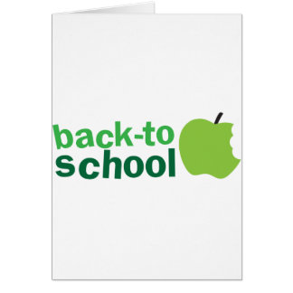 back to school with green apple greeting card